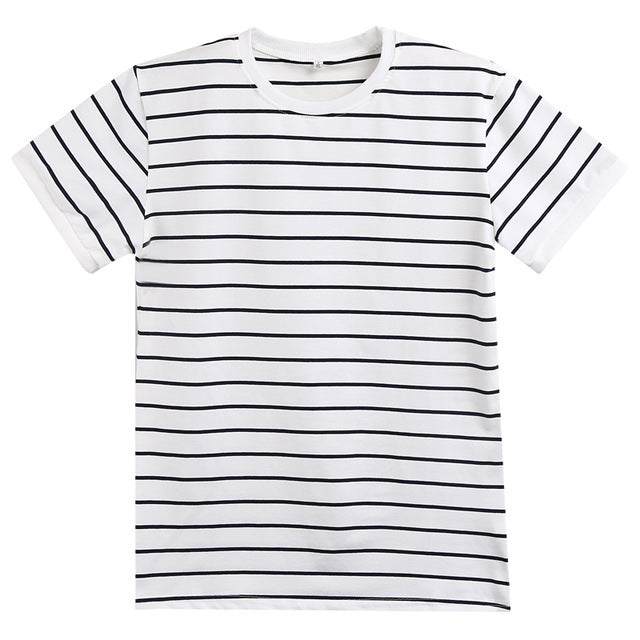 New Summer Men Short Sleeve O-Neck Striped Slim Fit Cotton Casual T-Shirt