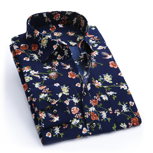 New Men Long Sleeve Turn-down Collar Retro Floral Printed Breathable Casual Dress Shirt
