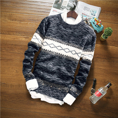 Winter Mens Long Sleeve O-Neck Patchwork Print Slim Fit Casual Knitting Sweater