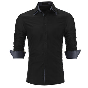 New Men Casual Long Sleeve Shirts Slim Fit Double Collar Work Shirt