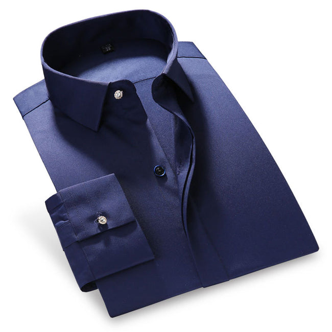 New Long Sleeve Men's Dress Shirt Solid Color Bamboo Fiber Regular Fit Fashion Business Casual Shirt