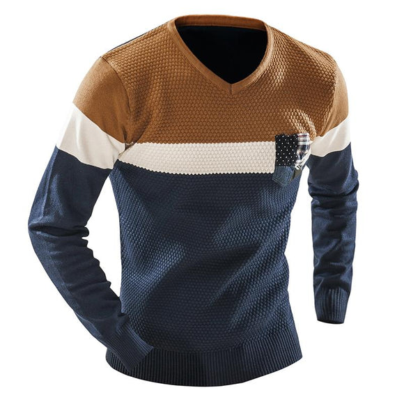 New Men Long Sleeve V-Neck Mixed Color Slim Solid Casual Sweater