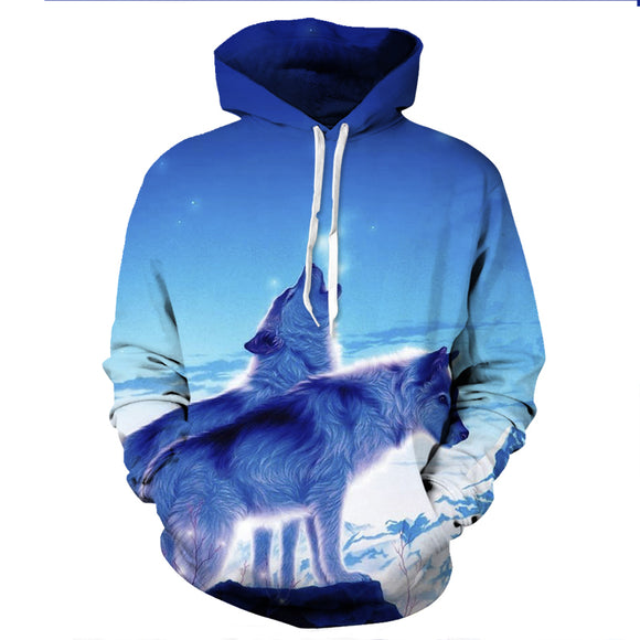 New Mens Galaxy Crying Wolf 3D Print Hoodies Pockets Sweatshirt