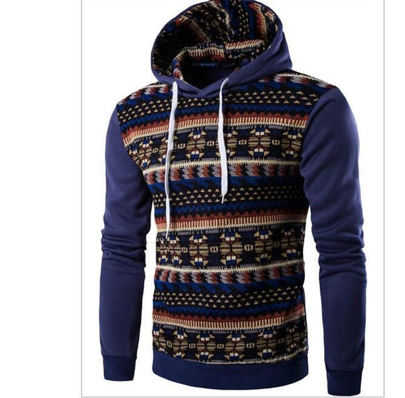 New Fashion Mens Hip Hop Hoodies Geometric Print Slim Fit Sweatshirt