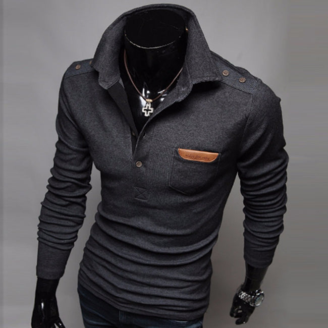 New Men Black/Gray Long Sleeve Turndown Collar Solid Color Button Pocket Casual Sweater