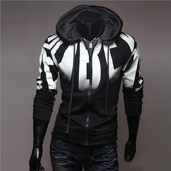New Fashion Mens Zipper Gradient Cardigan Hoodies Cool Sweatshirts