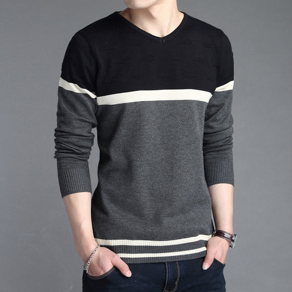 New Men Hedging V-Neck Patchwork Cotton Slim Fit Casual Knitted Sweater
