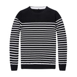 New Autumn Winter Mens Navy/Black O-Neck Striped Slim Fit Cotton Knitted Sweater