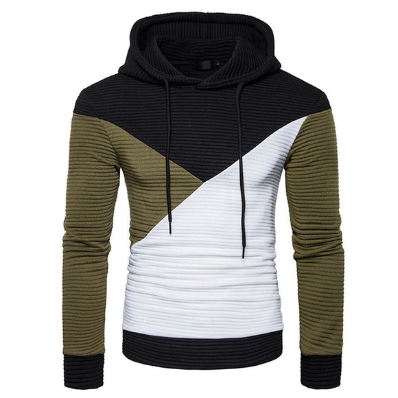 New Spring Mens Patchwork Pleated Hoodies Hip Hop Pullover Sweatshirts