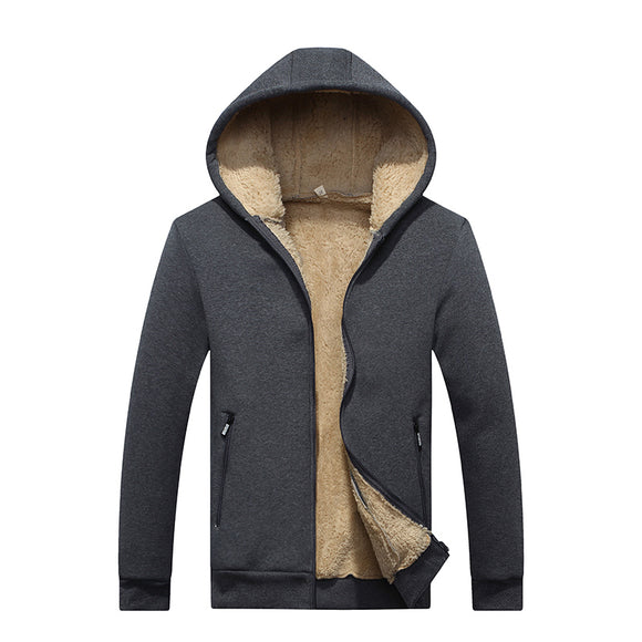 New Winter Men Zipper Fleece Solid Color Thick Warm Casual Hooded Jackets