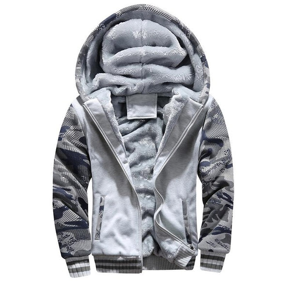 New Winter Fashion Men Cshmere Zipper Print Thick Warm Casual Hoodies