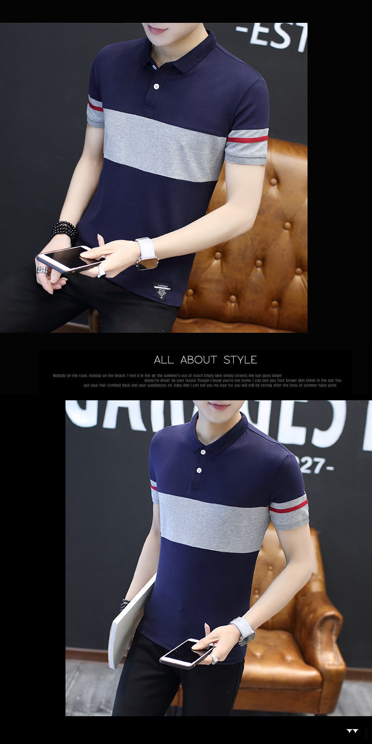 New Summer Men Short Sleeve Striped Elegant Polo Shirt Cotton Solid Polos