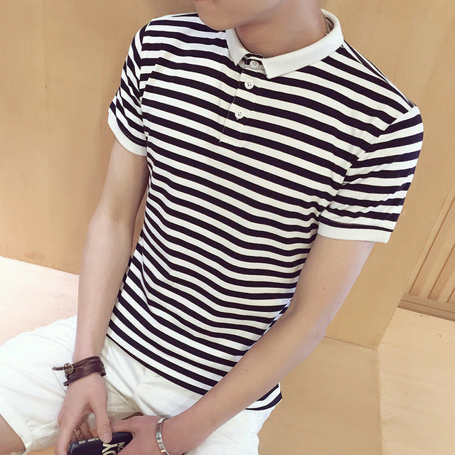 New Summer Men Short Sleeve Striped Slim Street Polo Shirts Plus Size