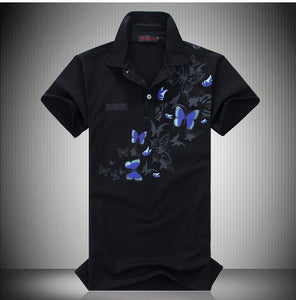 New Men Short Sleeve Butterfly Print Black White Polo Shirt Slim Fit Casual Polos Plus Size