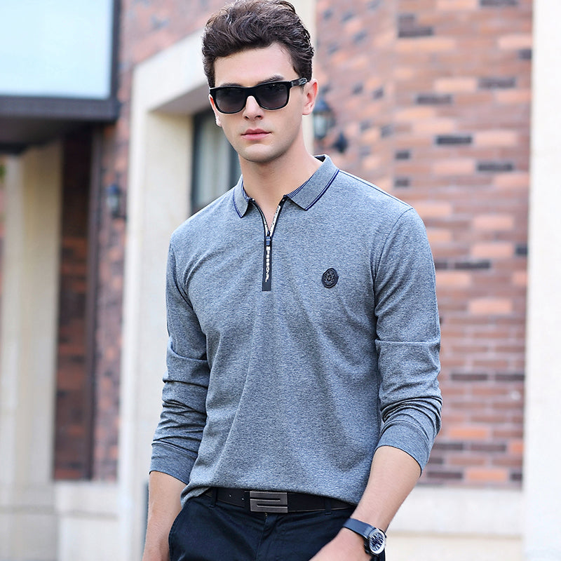 New Men Spring Autumn Style Long Sleeved Solid Color Polo Shirt Stretch Comfort Cotton Shirts