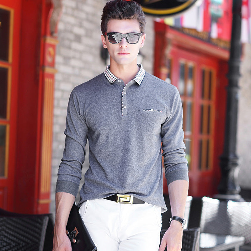 New Spring Autumn Men Style Long SLeeve Solid Color Polo Shirt Stretch Comfort Cotton Polos