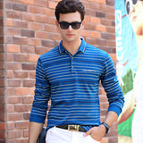 New Spring Autumn Men Style Long Sleeve Pinstripe Polo Shirt Stretch Comfort Cotton Polos