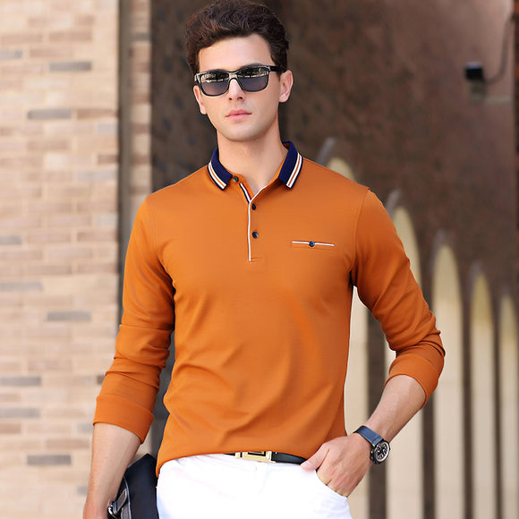 New Spring Autumn Men Long Sleeve Solid Color Polo Shirt Blue Collar Stretch Comfort Cotton Polos