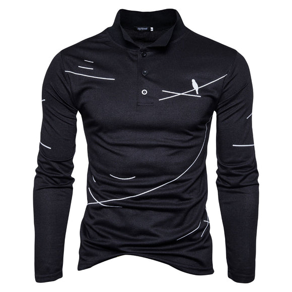 New Spring Fashion Men Long Sleeve Bird Print Polo Shirt Cotton Slim Fit Black White Polos