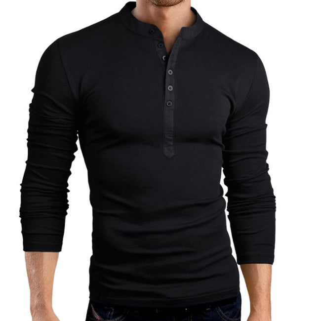 New Spring Autumn Men Long Sleeve O-Neck Solid Color Slim Fit Casual T Shirt