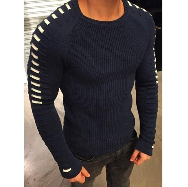 Mens Spring Winter Long Sleeve V-Neck Striped Patchwork Elastic Solid Sexy Knitted Sweaters