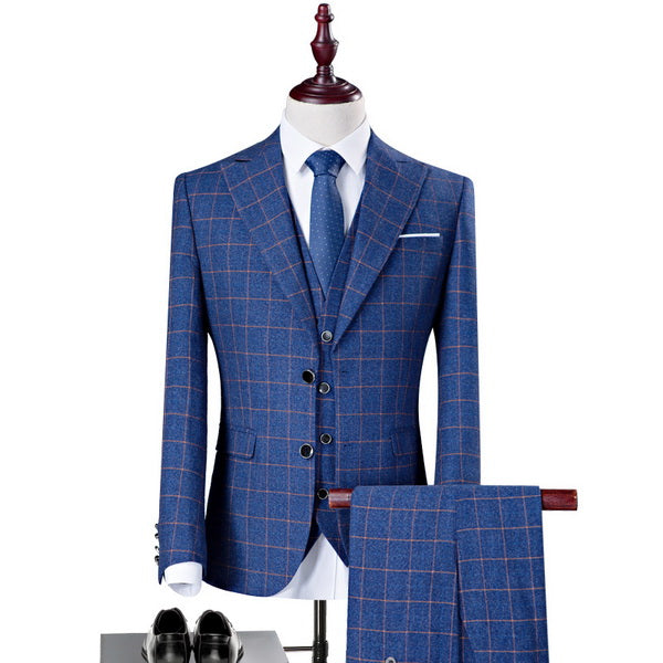 New Men 3 Pieces Single Breasted Plaid Wedding Groom Business Slim Fit Suits