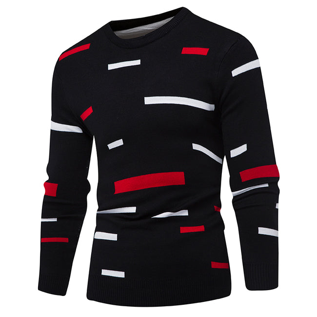 New Men Hedging O-Neck Mulit-Color Print Simple Comfortable Casual Knitted Sweater