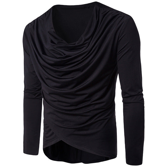 New Spring Autumn Men Long Sleeve Irregular Pleated Casual Slim Fit T Shirt