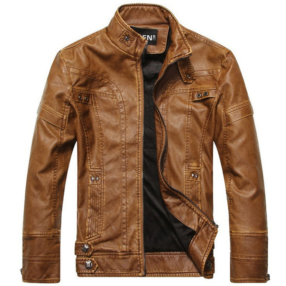 New Autumn Winter Mens Mandarin Collar PU Zipper Solid Cotton Casual Jackets