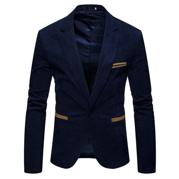 New Spring Autumn Men Long Sleeve Single Breasted Solid Color Slim Fit Casual Blazer