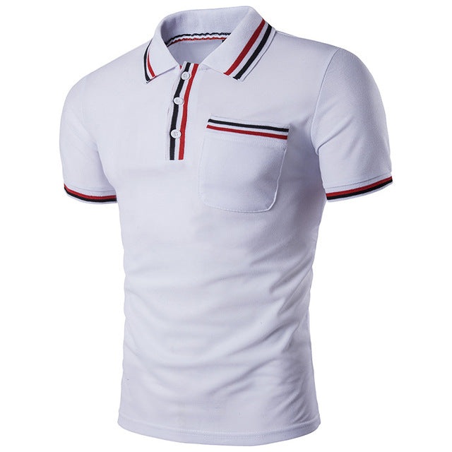 New Summer Men Short Sleeve Striped Collar Polo Shirt Slim Fit Cotton Casual Polos