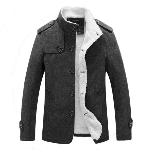 Fashion Stand Collar Single Breasted Thin Wool Warm Casual Jackets