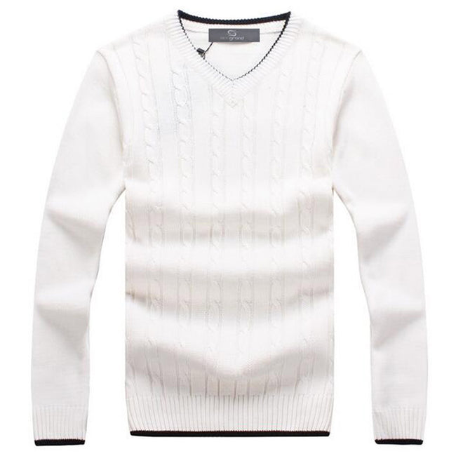 New Autumn Winter Mens Long Sleeve V-Neck Twisted Pattern Solid Color Casual Knitted Sweater