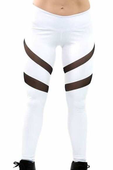 White Slashed Mesh Performance Legging