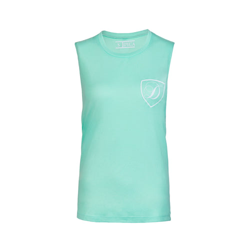 Mint and White Muscle Cut Tank
