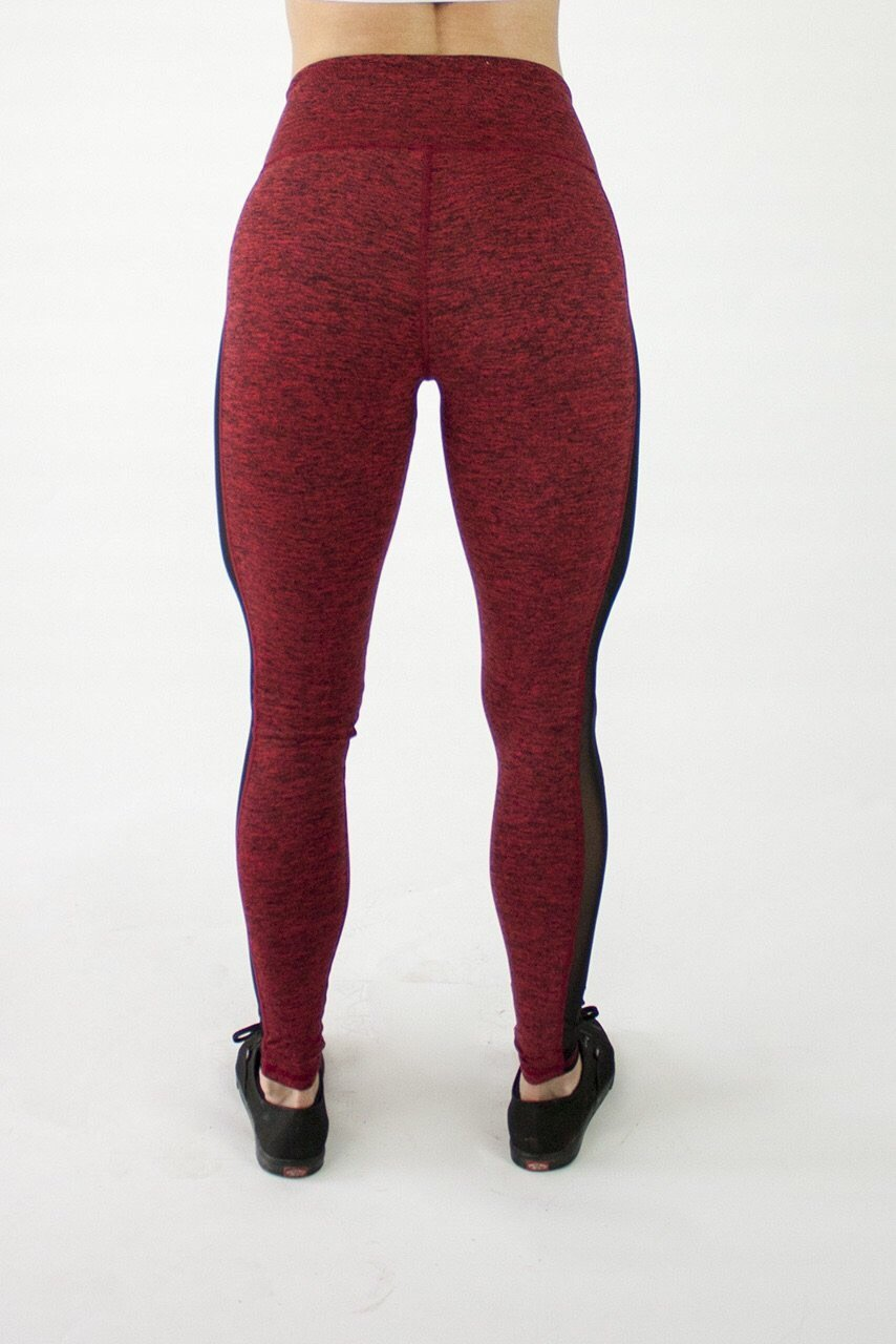 Deep Red Grace Side Mesh Lifestyle Legging