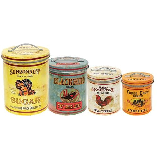 Vintage Kitchen Canisters - 4 Pc Set