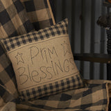 "Black Check Prim Blessings 12"" x 12"" Pillow"