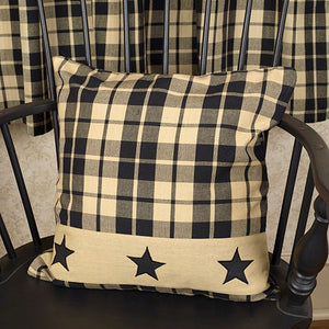 "Black Farmhouse Star 16"" Plaid Pillow"