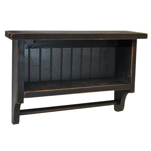 Beadboard Farmhouse Black Towel Rack