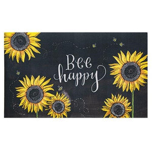 Bee Happy Sunflower and Sun Rug