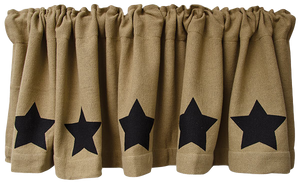 Black Star Burlap Valance