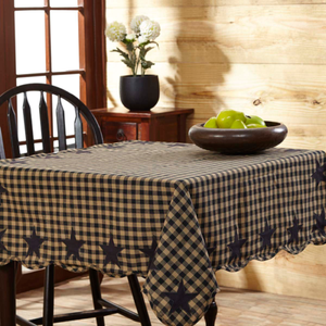 "Black Star Scalloped Tablecloth 60"" x 80"""