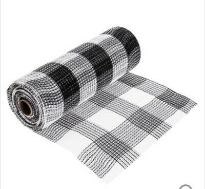 Black And White Buffalo Check Mesh Ribbon
