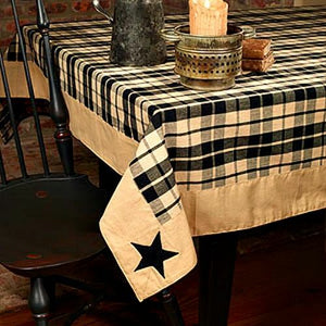 "Black Farmhouse Star Tablecloth 60"" x 90"""