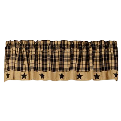 Black Farmhouse Star Lined Valance