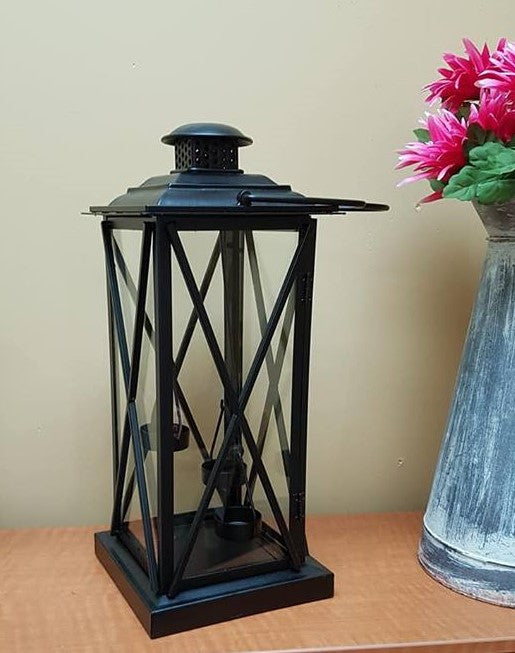 Tall Black Metal Lantern