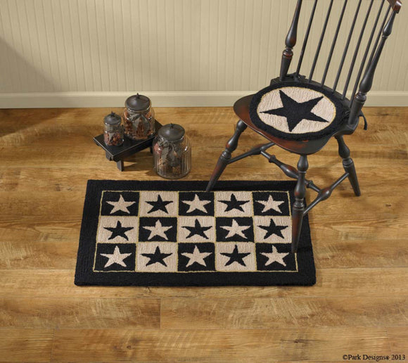 Black Star Hooked Rug by Park Designs