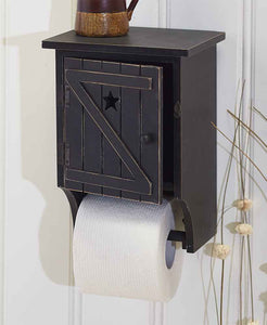 Country Star Black Wood Toilet Paper Holder