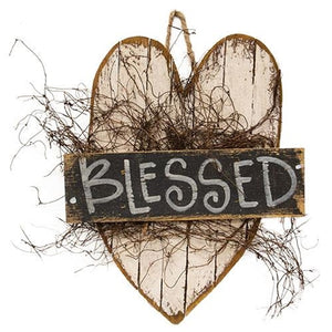 "Heart Shaped 'Blessed' 15"" Wood Sign"